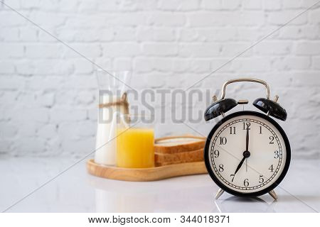 Breakfast Table With Classic Clock, Healthy Food.