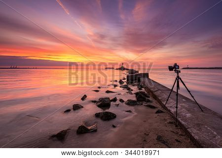 Baltic Sea During Sunset. Camera On A Tripod With Filters For Landscape Photography. Gdansk, Poland.