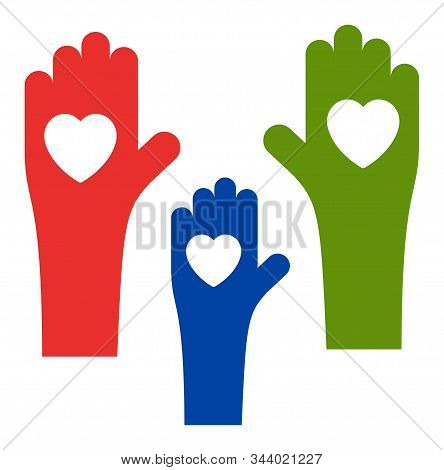 Tolerance Hands Vector Icon. Flat Tolerance Hands Symbol Is Isolated On A White Background.