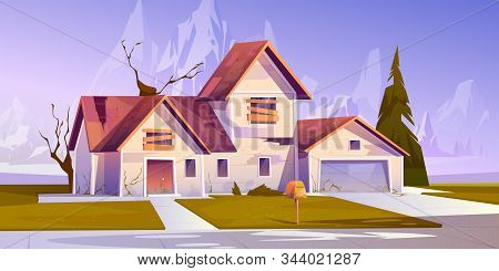 Adandoned Old House With Broken Roof And Boarded Up Windows. Vector Cartoon Illustration Of Derelict