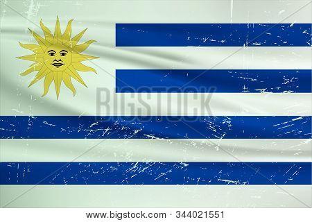 Grunge Uruguay Flag. Uruguay Flag With Waving Grunge Texture. Vector Background.