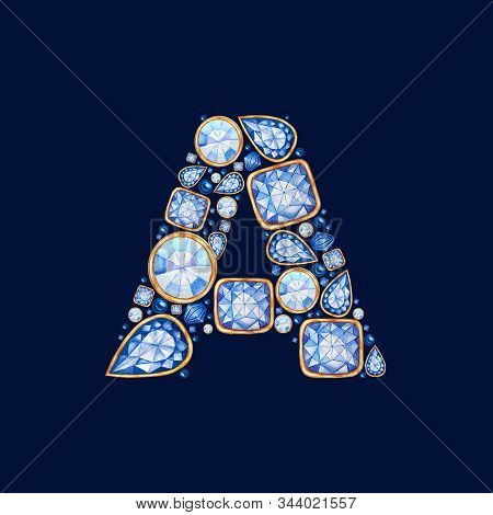 Classic Blue Crystal Letter. Alphabet With Diamonds And Brilliant, Jewelry Shop Logo Concept On Dark