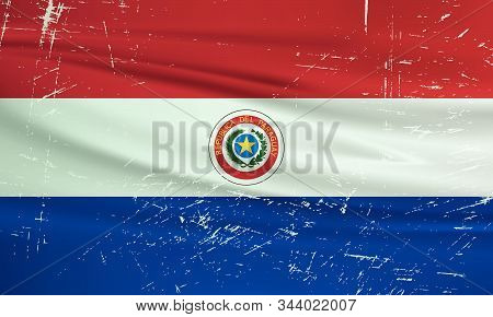 Grunge Paraguay Flag. Paraguay Flag With Waving Grunge Texture. Vector Background.