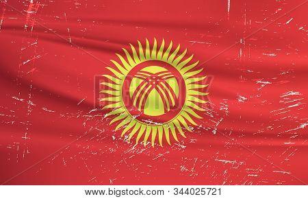Grunge Kyrgyzstan Flag. Kyrgyzstan Flag With Waving Grunge Texture. Vector Background.