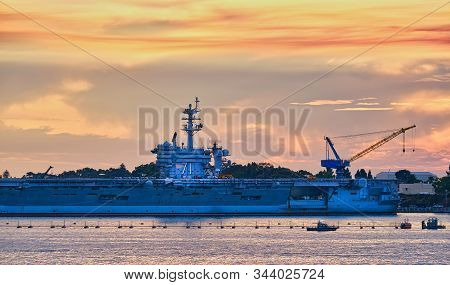 Uss Roosevelt At Sunset In San Diego