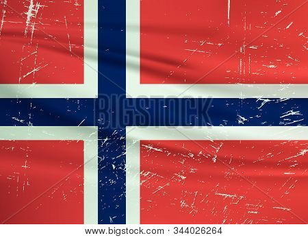 Grunge Norway Flag. Norway Flag With Waving Grunge Texture. Vector Background.