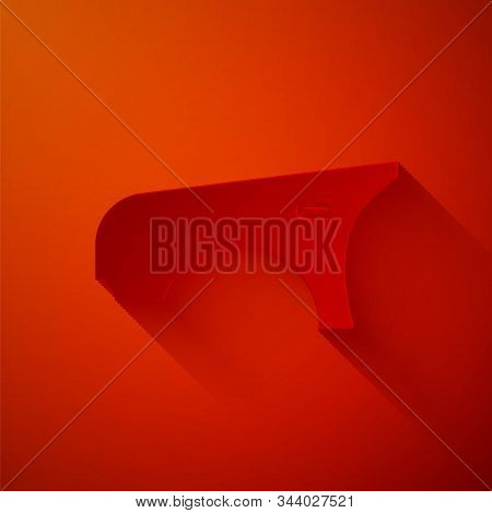 Paper Cut Car Fender Icon Isolated On Red Background. Paper Art Style. Vector Illustration