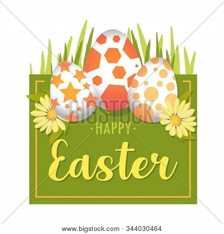 Vector Illustration Green Square Happy Easter Background With Realistic Easter Eggs And Spring Flowe