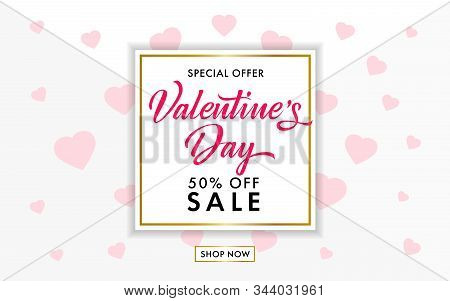 Valentines Day Sale Background With Rose Hearts On Gray Colors Background. Vector Illustration. Vale