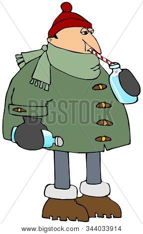 Illustration Of A Man Wearing A Big Coat, Scarf And Stocking Cap Staying Hydrated And Drinking Water