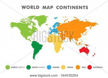 World Map Divided Into Six Continents In Different Color. Colored Map Of The World With Countries Bo