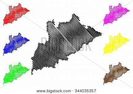 Tirana County (republic Of Albania) Map Vector Illustration, Scribble Sketch Tirana Map