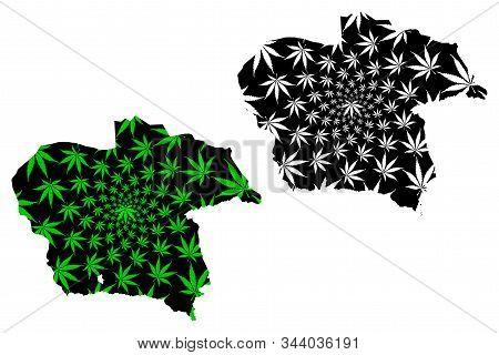 Almaty Region (republic Of Kazakhstan, Regions Of Kazakhstan) Map Is Designed Cannabis Leaf Green An