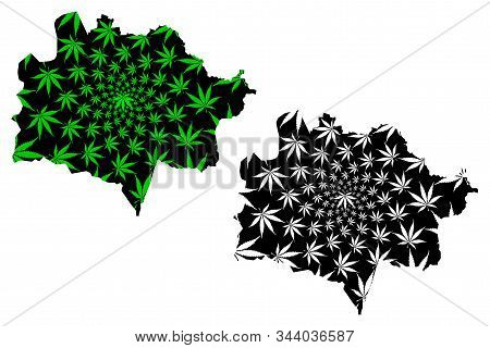 East Kazakhstan Region (republic Of Kazakhstan, Regions Of Kazakhstan) Map Is Designed Cannabis Leaf