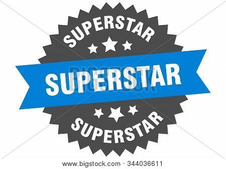 Superstar Sign. Superstar Blue-black Circular Band Label