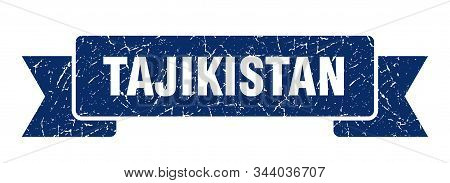Tajikistan Ribbon. Blue Tajikistan Grunge Band Sign