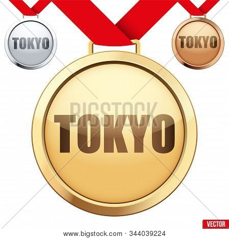 Set Of Medals With Text Tokyo. Sport Games In Japan. Vector Illustration Isolated On White Backgroun