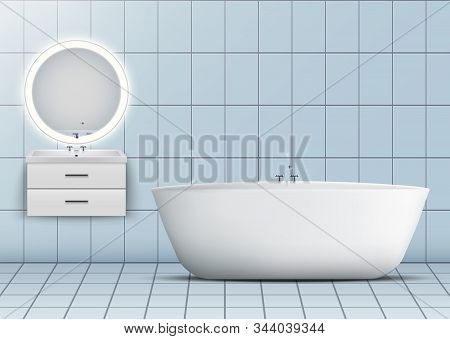 Bath And Washbasin Cabinet With Circle Mirror And Light. Domestic And Hotel Bathroom Design Interior