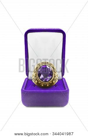 Large Amethyst Gold Ring In Purple Jewel Box On White Background