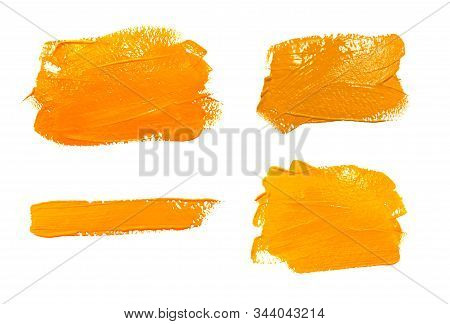 Collection Of Photos Paint Brush Stroke Texture Ochre Yellow Watercolor Isolated On A White Backgrou