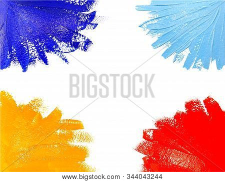 Collection Of Photos Paint Brush Stroke Texture Ochre Yellow Red Blue Watercolor Isolated On A White