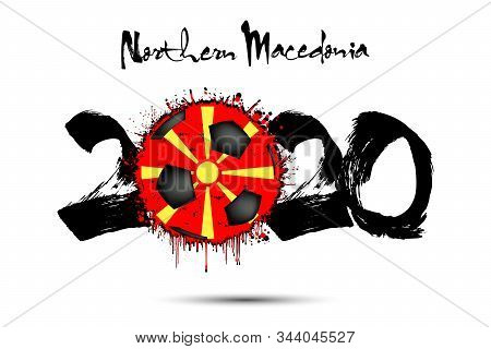 Abstract Numbers 2020 And Soccer Ball Painted In The Colors Of The Northern Macedonia Flag In Grunge