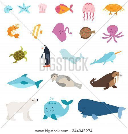 Vector Set Of Animals. Home Favorites. Mammals. Penguin, Shark, Whale, Narwhal, Polar Bear, Seal, Wa