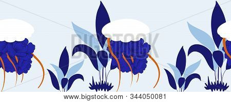 Horizontal Border With White Jellyfish And Blue Maritime Leaves