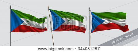 Set Of Equatorial Guinea Waving Flag On Isolated Background Vector Illustration. 3 Guinean Wavy Real