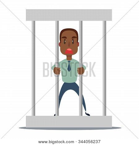 Sad Businessman In Office Suit In Prison Behind The Bars With Metal Ball Chained To His Leg. Financi