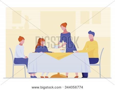 Family Having Dinner. Dining Room, Table, Teenagers Flat Vector Illustration. Celebration, Home, Eve
