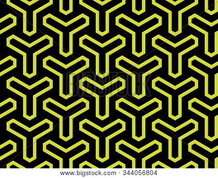 Vector Colored Geometric Seamless Black And Yellow Pattern
