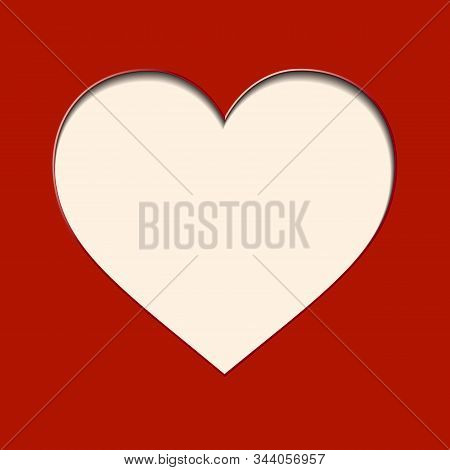 Vector White Paper Heart On Red Background