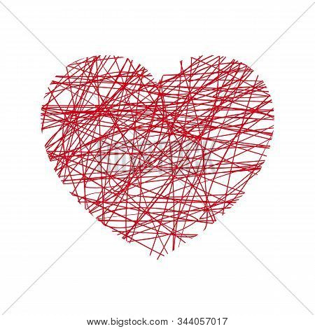 Vector Red Heart In Grunge Style On White Background
