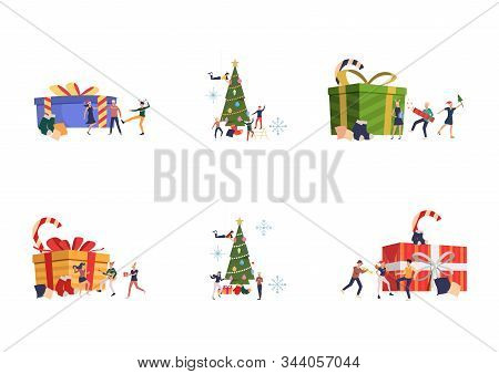Set Of People Celebrating New Year. Flat Vector Illustrations Of Friends Dancing Near Big Gift Boxes