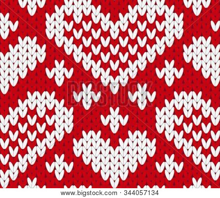 Vector Knitting Seamless Background With Red Hearts