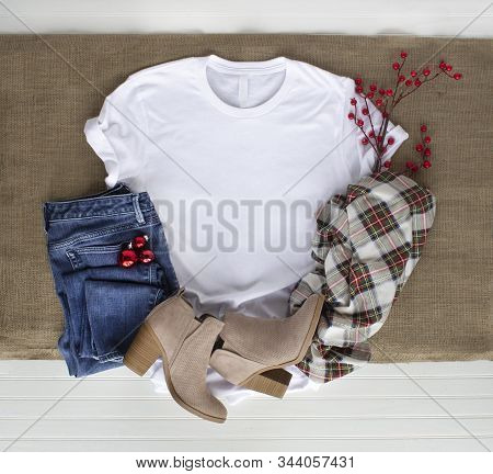 White Tshirt Mockup W Shirt Boots Plaid Scarf And Jeans. Christmas Mock Up