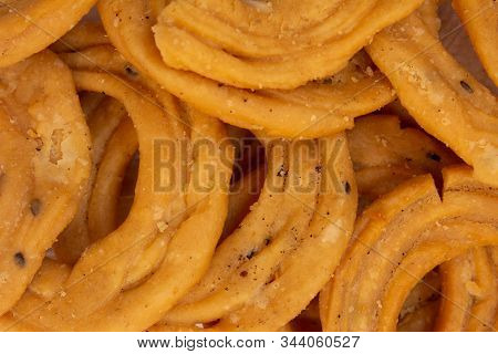 Close View Of Murukku Which Is A Popular South Indian Savoury. Indian Sweet And Savoury Prepared Dur