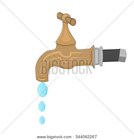 Water Tap With Falling Drop Isolated On White Background. Water Faucet In Cartoon Flat Style. Concep