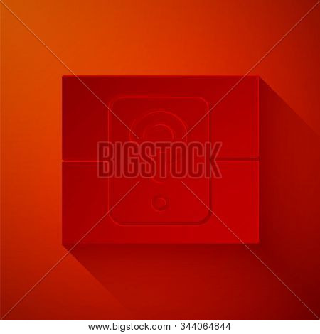 Paper Cut Mystery Box Or Random Loot Box For Games Icon Isolated On Red Background. Question Box. Pa