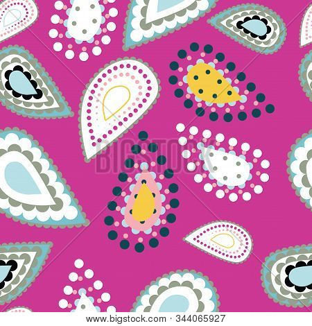 Hand Drawn Stylized Paisley Illustration. Seamless Vector Pattern With Modern Tear Drop Shapes, Brig