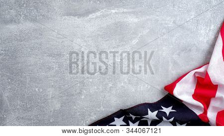 Us American Flag On Stone Background. Banner Template For Usa Memorial Day, Presidents Day, Veterans