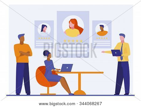 Best Employees Rating. Employers And Recruit Agents Choosing Job Candidate Flat Vector Illustration.
