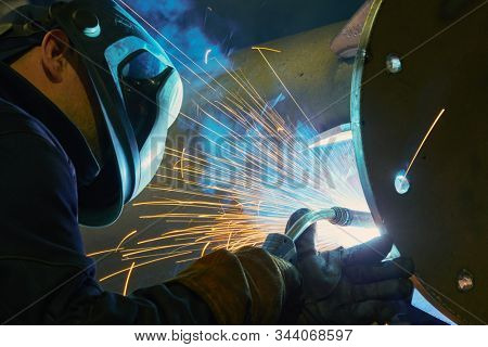 industrial arc welding work with sparks