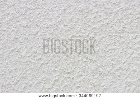 Texture Of White Wall Covered With Decorative Stucco