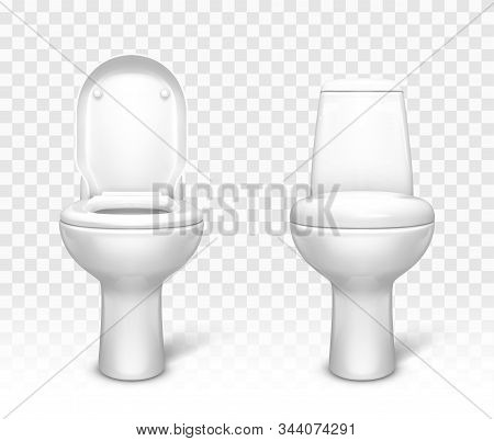 Toilet With Seat Set. White Ceramic Lavatory Bowl With Closed And Open Lid Front View Mockup Templat