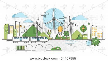 Wind Energy Vector Illustration. Green Alternative Power In Outline Concept. Air Turbines Producing