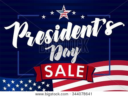 Lettering Presidents Day Sale Banner, Blue Stars And Flag Usa. Happy President`s Day 17th February F