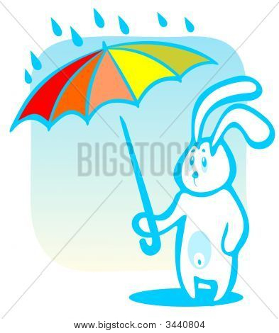 Cartoon rabbit with umbrella isolated on a blue background. poster