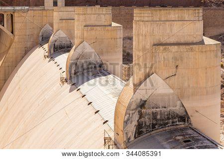 Boulder City, Nevada, Usa- 01 June 2015: Hoover Dam Construction Element. Concrete Gravitational Arc
